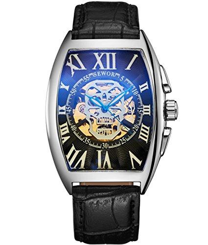 SEWOR Luxus Herren Totenkopf Kopf Automatik Mechanische Armbanduhr Leder Band Glas Beschichtung, blau … (Silber schwarz)