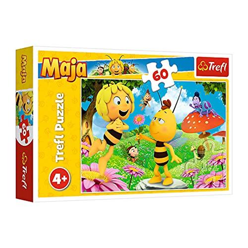 Trefl, Puzzle, Eine Blume für Maja, Maya the Bee, 60 Teile, für Kinder ab 4 Jahren