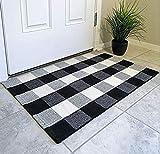 PICTURESQUE Tappeto a scacchi bianco e nero Pittoresco Zerbino Cucina Bagno Portico esterno Tappeto tessuto lavabile 60x90cm