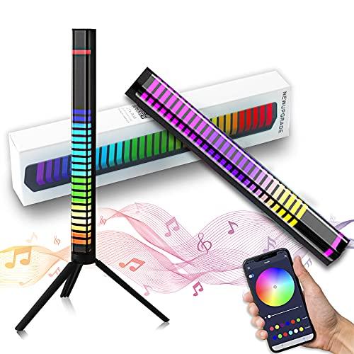 32 Bit RGB LED Light Bar, Voice Activated Rhythm Light Control with Bluetooth Voice Sound Control Audio USB Connection APP, Music Level Indicator Hue Light for Car Gaming TV DJ Studio Room Decor