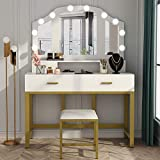 "Tribesigns 47"" Large Vanity Set with Tri-Folding Lighted Mirror, Elegant Makeup Table Vanity Dresser with 4 Drawers, 10 LED Lights and Cushioned Stool, Dressing Table for Girls Bedroom, White Gold"