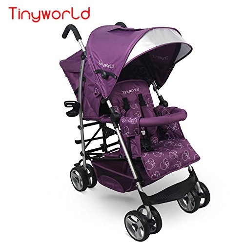 Best Price Portable Twins Stroller, Fold Twins Carriage with Double sunroof, Lightweight Baby Pram T...