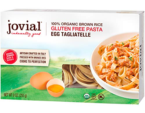 Jovial Egg Tagliatelle Gluten-Free Pasta   Whole Grain Brown Rice Egg Tagliatelle Pasta   Lower Carb   Kosher   USDA Certified Organic   Made in Italy   9 oz (12 Pack)