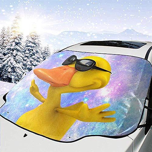 BI HomeDecor Sommer Sonnenschutz,Karton Ente Mit Sonnenbrille In Sky Soft Quality Auto Windschutzscheibe Sonnenschirme Für LKW Kraftfahrzeuge,147x118cm