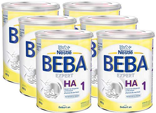 Nestlé BEBA EXPERT HA 1 Hydrolysierte Anfangsnahrung, Säuglingsnahrung von Geburt an, 6er Pack (6 x 800 g)