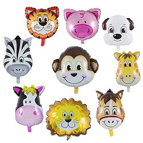 Wolintek 9 Pezzi Palloncini Animali Giungla, Palloncini Animali Elio - L'elio è Permesso, Perfetto per i Bambini Decorazione Festa di Compleanno (Dimensioni: 30-50cm)