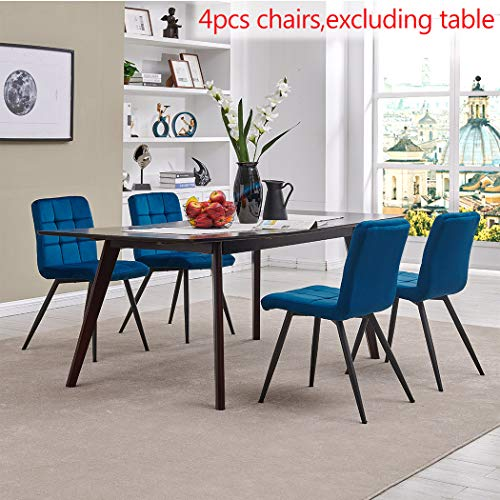 Modern Velvet Dining Chairs, Tufted Accent Upholstered Chairs for Living Room/Kitchen/Vanity/Patio, Set of 4 (Blue)