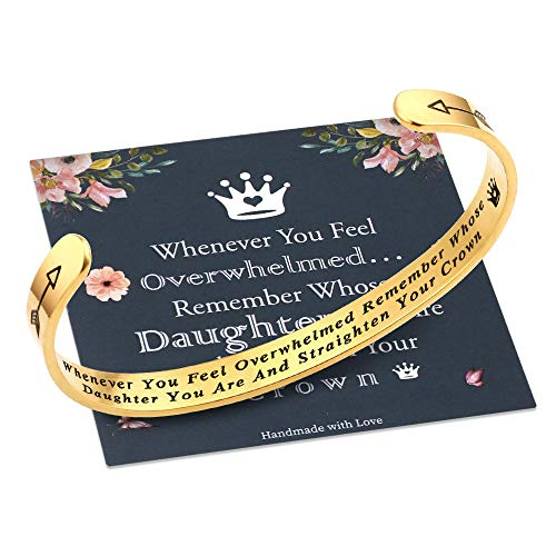 Whenever You Feel Overwhelmed Remember Whose Daughter Straighten Your Crown Bracelet, Daughter Gifts...