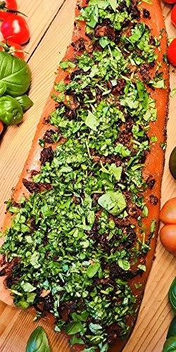 """Graved Lachs """"Toskana"""" mit getrockneten Tomaten und frischem Basilikum 1.1 kg ✔ Mit frischen Kräutern und Bio Zitrusfrüchen in eigener Manufaktur hergestellt"""