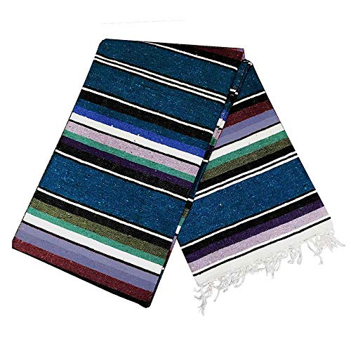 Open Road Goods Mexican Serape Blanket | Multicolor Saltillo Blanket - Mexican Style Blanket, Striped Throw Blanket, Authentic Classic Hand Woven Handmade Blanket from Mexico (Blue 100% Cotton)