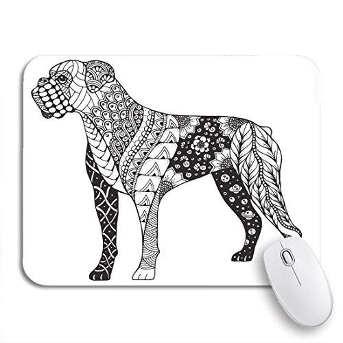 Gaming mouse pad buch boxer hund zentangle freihand bleistift muster zen ornate rutschfeste gummi backing mousepad für notebooks computer maus matten