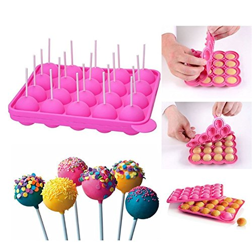 Emousport 20 Holes Silicone Non-stick Cake Pop Kit Silicone Lollipop Mold Cake Mold Baking Chocolate Ice Lattice Bakeware Mould +20 Sticks