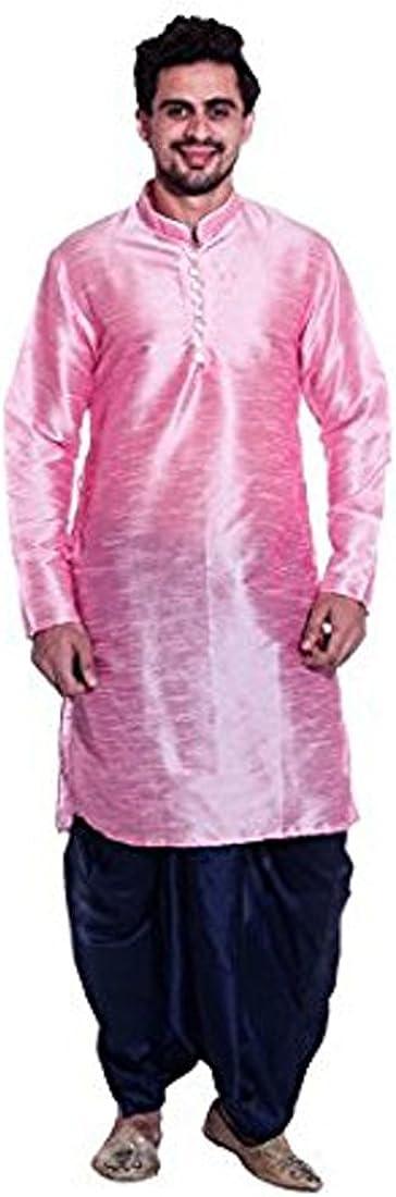Royal Men's Silk Blend Dhoti & Kurta Set_Pink