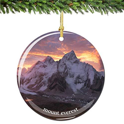 City-Souvenirs Mount Everest Christmas Ornament Porcelain Double Sided 2.75 Inches