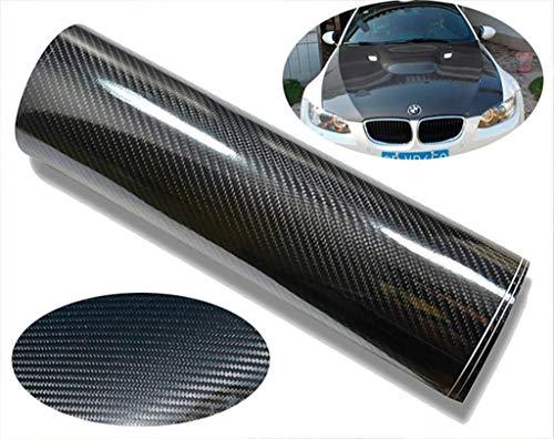 CVANU Self Adhesive Black 5D Carbon Fiber Vinyl Wrap Film Car Wrapping Vinyl Sticker for All Car_ 12''x50''inch