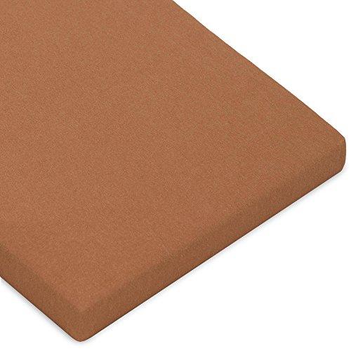CelinaTex Casca Topper hoeslaken 180x200-200x220 cm chocolade bruin katoen spanbeddoek elastaan laken