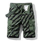 2021 hombres de verano de la moda de cargo pantalones cortos masculinos de algodón a rayas pantalones cortos de carga para hombre casual suelto ajuste multi bolsillos pantalones cortos de trabajo