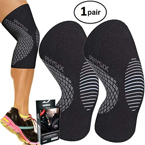 PHYSIX GEAR SPORT Knee Support Brace - Premium Recovery & Compression Sleeve For Meniscus Tear, ACL, Running & Arthritis - Best Neoprene Wrap for Crossfit, Squats & Heavy Duty Workouts (1 PAIR Grey M)