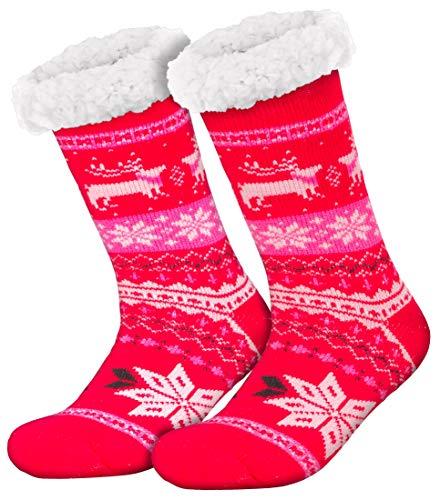 Compagno Kuschelsocken Norwegen mit ABS Anti Rutsch Sohle Wintersocken Damen Herren Socken 1 Paar Einheitsgröße, Farbe:Pink