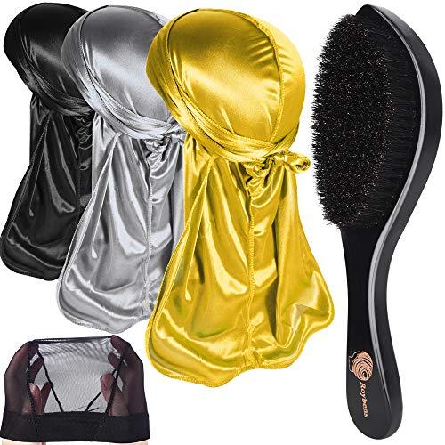 3pcs Silky Durags & 360 Wave Brush Kits for Men Best Gift, Bonus 1 Wave Cap,F