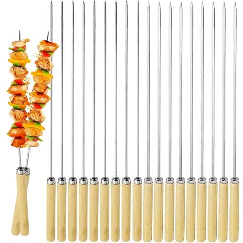 Orapink Kebab Brochetas de acero inoxidable para barbacoa de 18 unidades, para brochetas de metal reutilizables y redondas, brochetas de carne, con mango de madera, para acampar