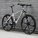 Bicicleta Montaña 26' Hombre, 21-30-Velocidad All-Terrain Bike Mountain Bike De Acero De Alto Carbono con Tenedor De Suspensión, Frenos De Disco,C,24 Speed