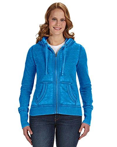 J. America Ladies Full Zip Hooded Sweatshirt - Oceanberry Blue