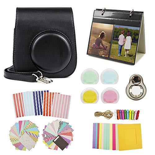 MUZIRI KINOKOO Mini 11 Accesorios Pack para Fujifilm Instax Mini 11 Funda Protectora con 8 Accesorios útiles para Bolsa de cámara, Lente de Filtro de 4 Colores y Lente de Selfie, Color Negro