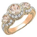 Dazzlingrock Collection 14K Round Morganite & White Diamond Vintage Bridal Engagement 3 Stone Ring, Rose Gold, Size 9