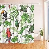 N / A Decoración de Aves Loros y tucanes en la Familia de Hojas de Palmeras Tropicales Cortina de Ducha Decorativa Impermeable y a Prueba de Moho A127 180x180cm