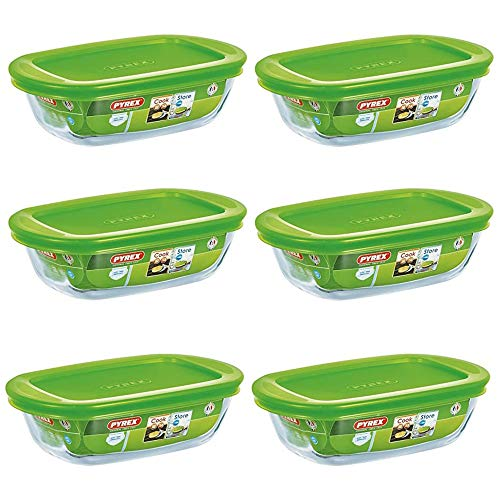 Pyrex Microwave Safe Classic Rectangular Glass Dish Vented Lid 0.35 Litre Green (Pack of 6)