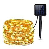 Iluminación de caminos, luz solar de jardín, lámpara de césped, 100 luces LED solares de alambre de cobre, guirnalda de lámpara (blanco cálido)