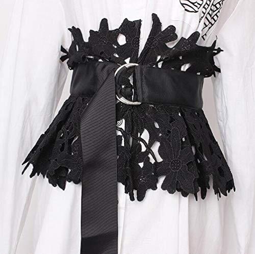 Huien kant buikbanden vrouwelijke jurk korsetten tailleband riemen decoratie brede riem, zwart, one size