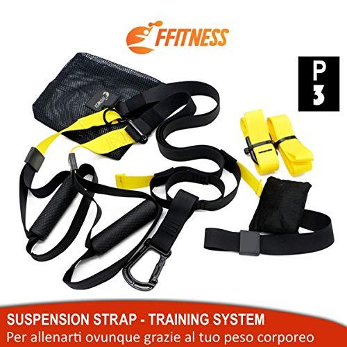 Suspension Strap Fitness Training System. Entrenamiento Funcional, Plank, Ejercicios en suspensión Gimnasio, Trainer Band, Correas de Yoga Gym Door Band.