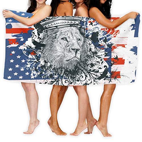 Toallas de playa, retrato de león y bandera de Estados Unidos, tamaño grande, microfibra superabsorbente, toalla de baño, toalla de playa, 90 x 150 cm