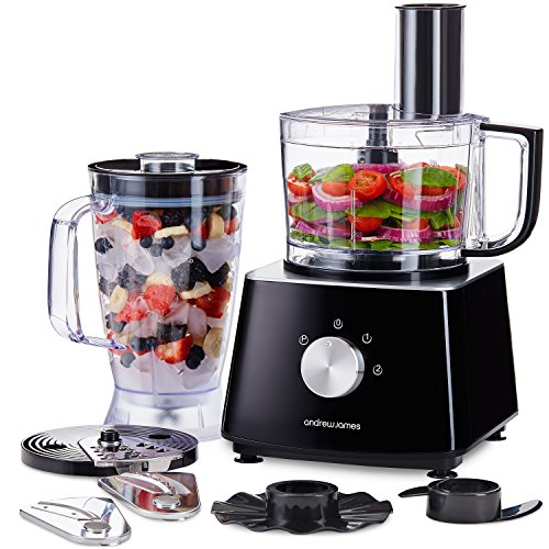 Andrew James Food Processor with Blender Jug & 6 Chopping Blades Including Grater & Kneader | Large 1.8L Capacity Electric Chopper for Cooking & Baking | 700W Black