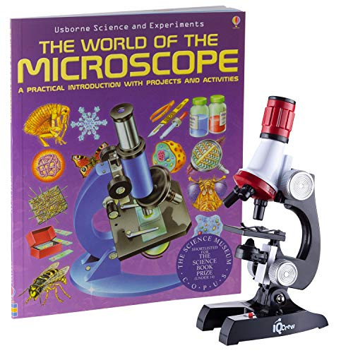 IQCREW 1200X Kids Microscope Toy Set with Slides Preparation Kit + Microscope Book