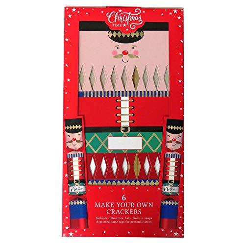 Knallbonbons für Weihnachten, Nussknacker, 6 Stück, mit Etiketten, Seidenband, Hüten, Mottos und Druckknöpfen