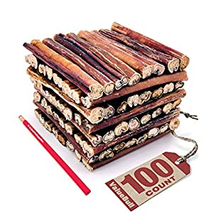 ValueBull Bully Sticks for Dogs, Thick, 100 Count – All Natural Dog Treats, 100% Beef Pizzle, Single Ingredient Rawhide Alternative