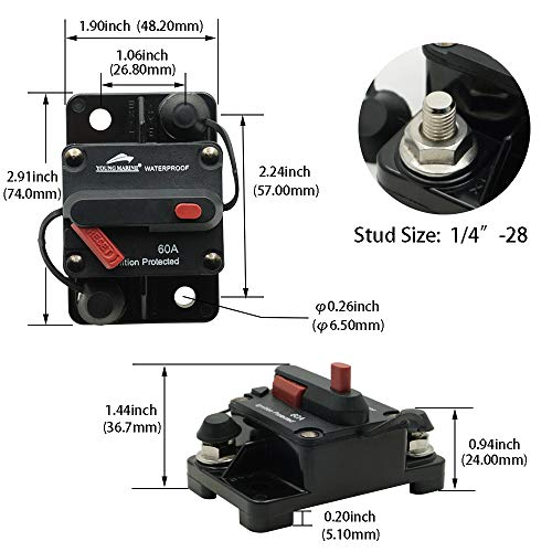 Young Marine Circuit Breaker for Boat Trolling with Manual Reset,Water Proof,12V- 48V DC