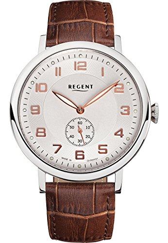 Regent Herren-Uhren Analog Handaufzug One Size Braun Leder 32001038