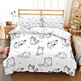 PATATINO MIO 3D Cartoon Cats Pink/Blue/Gray Bedspread Printed Paws Shape of Hearts White Duvet Cover Bedding Sets 2 Pieces(1 Duvet Cover 1 Pillow Sham) for Kids Boys Girls Twin Size
