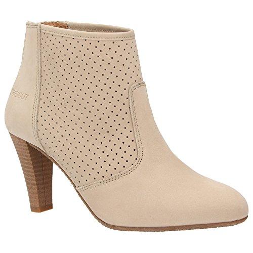Zweigut® -Hamburg- komood #310 Damen Sommer Stiefelette Schuh extrem Komfort Nubukleder auf Flexibler Sohle atmungsaktiv, Schuhgröße:37, Farbe:beige