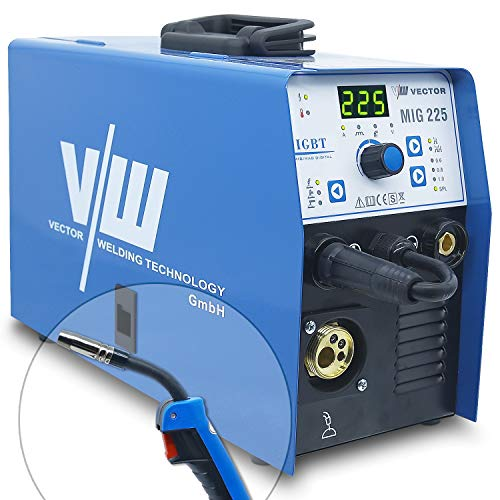 Vector - Soldador de gas de protección MIG 225 electrodos con 225 amperios Combi, soldador de alambre MIG MAG WIG MMA E-HAND, acero/acero inoxidable, soldadura IGBT Welder 5 kg, 230 V