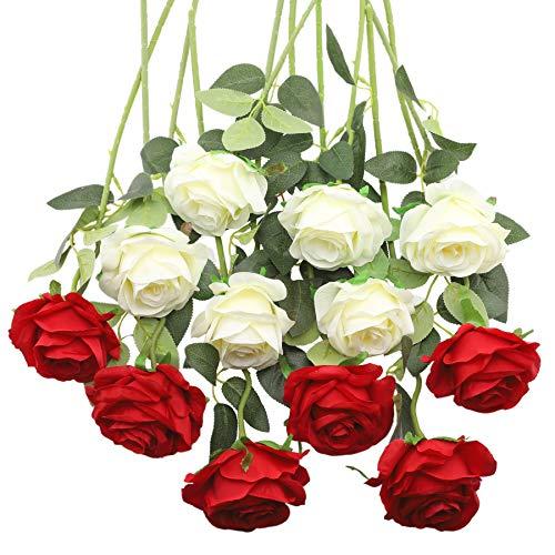 Decpro 12 rosas artificiales, 19.7 pulgadas, tallo largo de seda, flores falsas para ramos de novia, boda, hogar, fiesta, oficina, hotel, centros de mesa, arreglos florales (blanco y rojo)