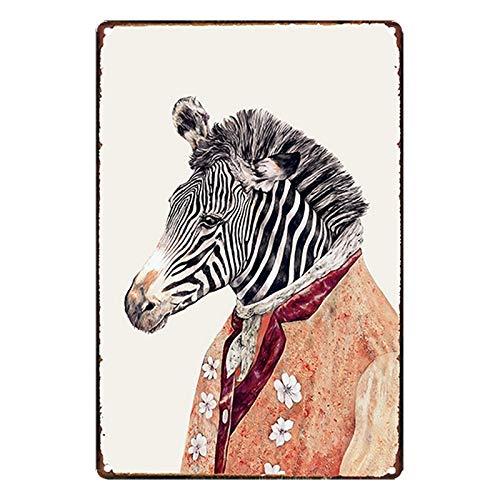 GUUTOP Dibujos Animados humorísticos Cabeza de Animal decoración Tablero Pintura habitación de los niños decoración del hogar Pared Metal Cartel de Chapa Bar cafetería Garaje 20x30 cm