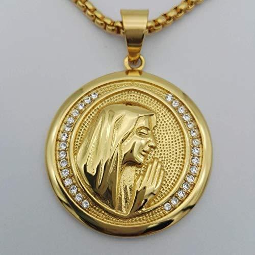 CLEARNICE Collar de Hombre Religiosa Virgen María Mujeres Collar De La Joyería Color Oro Acero Inoxidable Madonna Collares Pendientes para Mujer