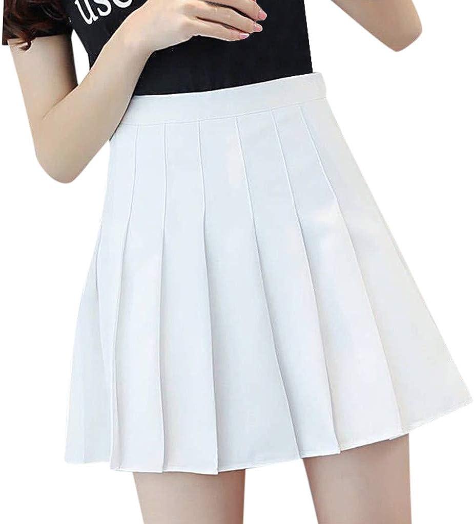 Inforin Women's Solid High Waist Pleated Mini Skirt Slim Waist Casual Tennis Skirt