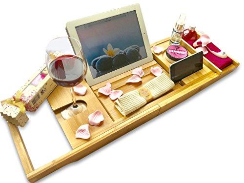 DRYZEM Badewannen ablagen verstellbare Bambus Badewanne Tablett, Badewanneneinsatz, Badetisch für Tablett, Smartphone, Buchrahmen, Weinglashalte