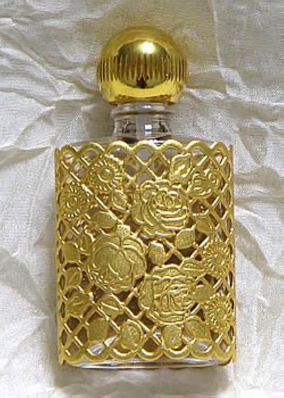無臭状後世パースパフュームボトル 平楕円 メタルローズ ゴールド